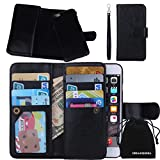 DRUnKQUEEn iPhone 6s Plus Case, iPhone 6 Plus Case, Credit Card Holder Wallet Leather Flip Case - Detachable Magnetic Cover with Lanyard Wrist Strap for Apple iPhone 6sPlus / iPhone 6Plus