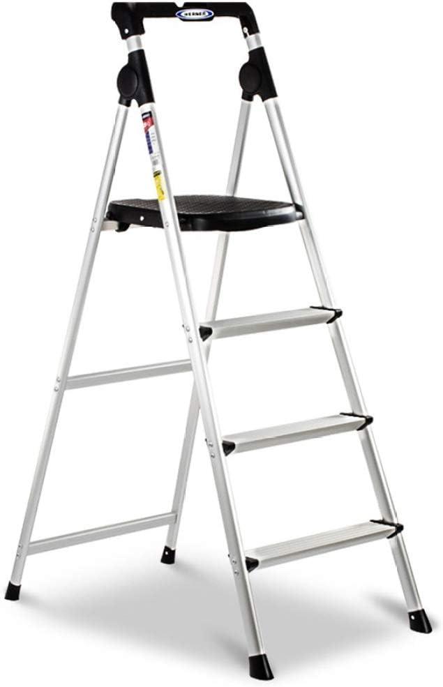 JLDN Escalerilla, del hogar 4 Peldaños Escalera Plegable Escalera de Tijera portátiles con Apoyabrazos Resistente y Ancha Antideslizantes Multiusos,Silver: Amazon.es: Hogar