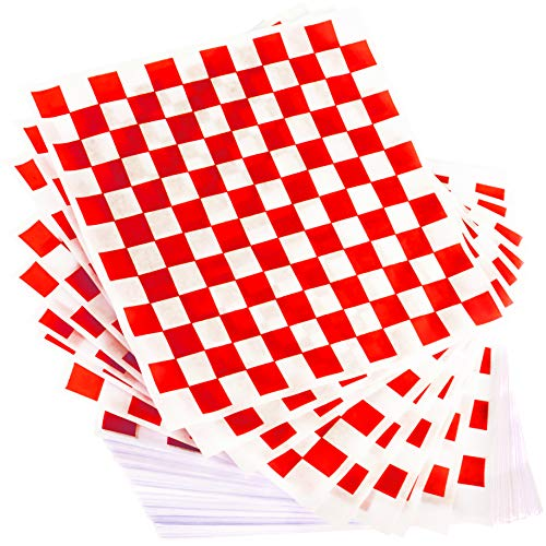 Extra Large, Grease Resistant Red Sandwich Liner 300 Sheet Pack. Microwave Safe 15x15 in Wax Paper Deli Wrap for Restaurants, Churches, BBQs, Concession Stands, School Carnivals, Fairs. Made in USA.