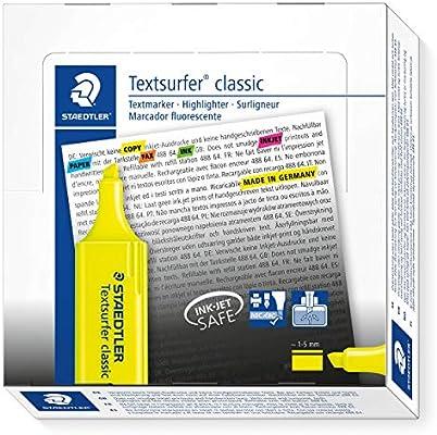 Staedtler 364-1. Rotuladores fluorescentes Textsurfer. Estuche con 10 marcadores de color amarillo.: Amazon.es: Oficina y papelería