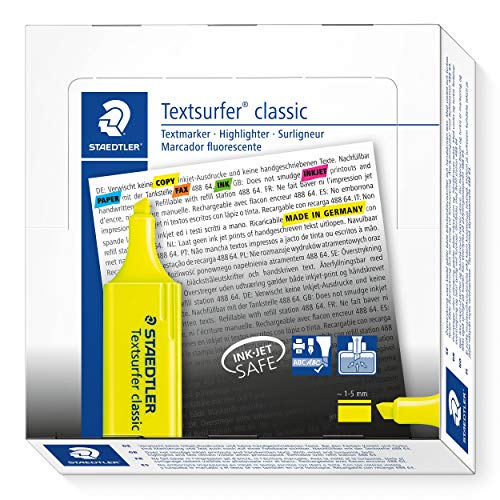 (Staedtler Textsurfer Classic 364 Highlighter - Yellow, Pack of 10)