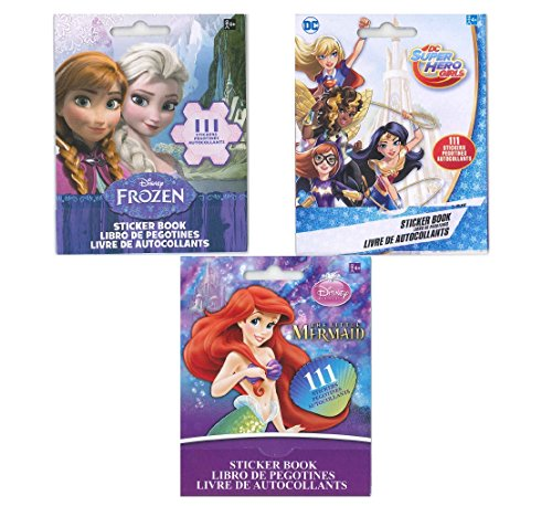 Little Mermaid Sticker Book - Set of 3 Sticker Books for Kids: Disney Frozen, The Little Mermaid and DC Super Hero Girls (9 sheets with 111 stickers per book)- 3 PACK