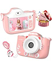 CamOn Digital Kids Camera for Girls - Selfie Camera for Kids Age 3+ with Flash 32 GB - 12 MP Premium Toddler Camera HD 1080P - Perfect Children Birthday Gifts - Pink Toy Photo Video Cameras for Girl photo