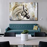 yes we can poster - Horses Wall Art Canvas Prints Home Decor Artwork Moder Abstract Animal Painting Pictures Framed Wall Art for Living Room Home Decoration Ready to Hang (Grey, 24x36in)