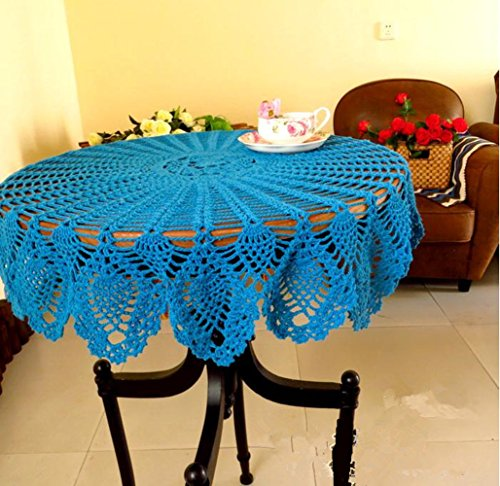 USTIDE Blue Crochet Table Cover Handmade Rustic Floral Pattern Table Doilies