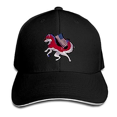 Fenme American Flag Wolf Unisex Sandwich Caps Cool Snapback Hats Crazy Trucker Hats Unique Snapback Cap