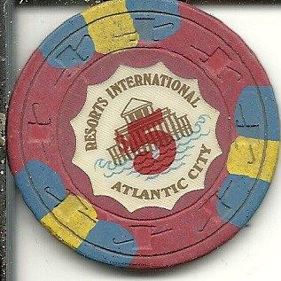 - $5 resorts international casino chip atlantic city obsolete 3 stripe