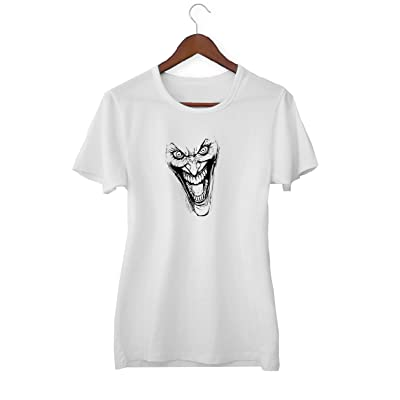 Joker Scary Face Zombie Version_KK020265 Shirt T-Shirt Tshirt para Mujeres - White: Ropa y accesorios