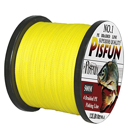 Pisfun SuperPower 500M(547 Yard)/1000M(1100 Yard) Braided Saltwater Fishing Line 4 Strands 14-80LB Advanced Superline Green Orange Grey Yellow White Blue Color Review