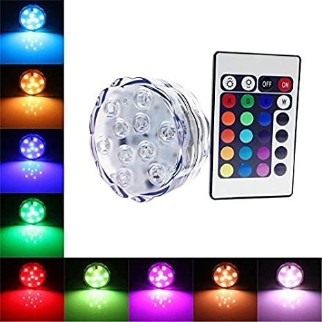 Led Underwater Lights Mini Rgb Led Light Bulb Button Battery Round Candle Bulb Underwater Lamp With Remote Control Waterproof Lamps Submersible Lights