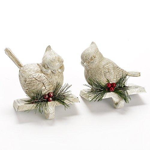 Cardinal Birds White Resin Stocking Holder - Set of 2 (For Stocking Christmas Hooks Mantle)