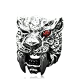 Beydodo Mens Silver Ring, Saber Tooth Tiger Ring Size 10 Mens Rings Hip Hop
