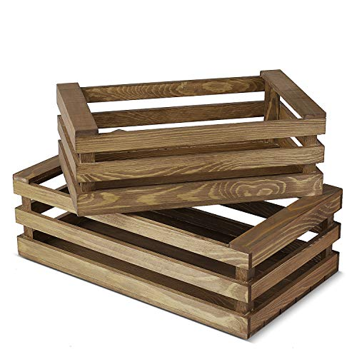 Flexzion Decorative Storage Wooden Crates - Rustic Style Finish Vintage Wood Storage Crate Decorative Home Decor Display Tray Open Top Carrier Nesting Boxes with Handles - (Set of 2) (Rustic Style) (Threshold Log Bin)