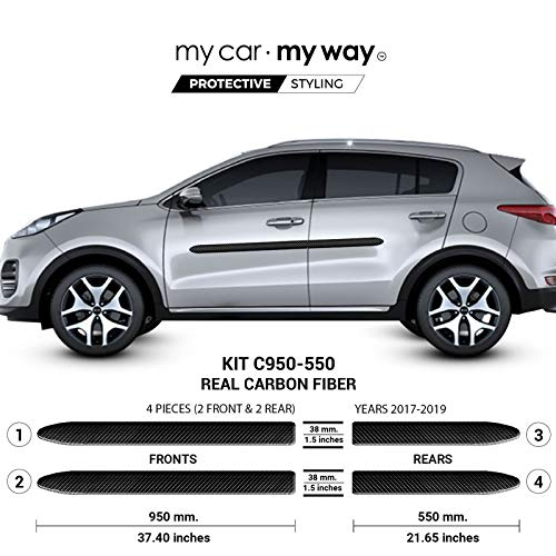 MY CAR MY WAY (Fits) KIA Sportage 2017-2019 Real Carbon Fiber Body Side Molding Cover Trim Door Protector