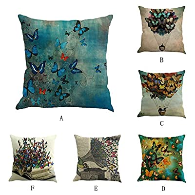 FORUU Throw Pillowcase, Butterfly Painting Linen Cushion Waist Pillow Case Covers Sofa Home Decor