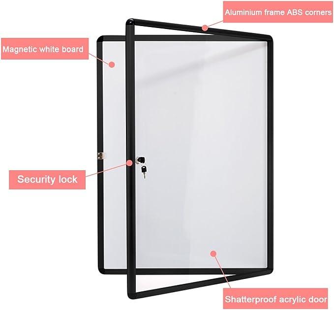 Schwarz Alu Rahmen Swansea Schaukasten Abschliessbar 9X4A Acrylglas Infokasten Plakatschaukasten Magnetisch Innen