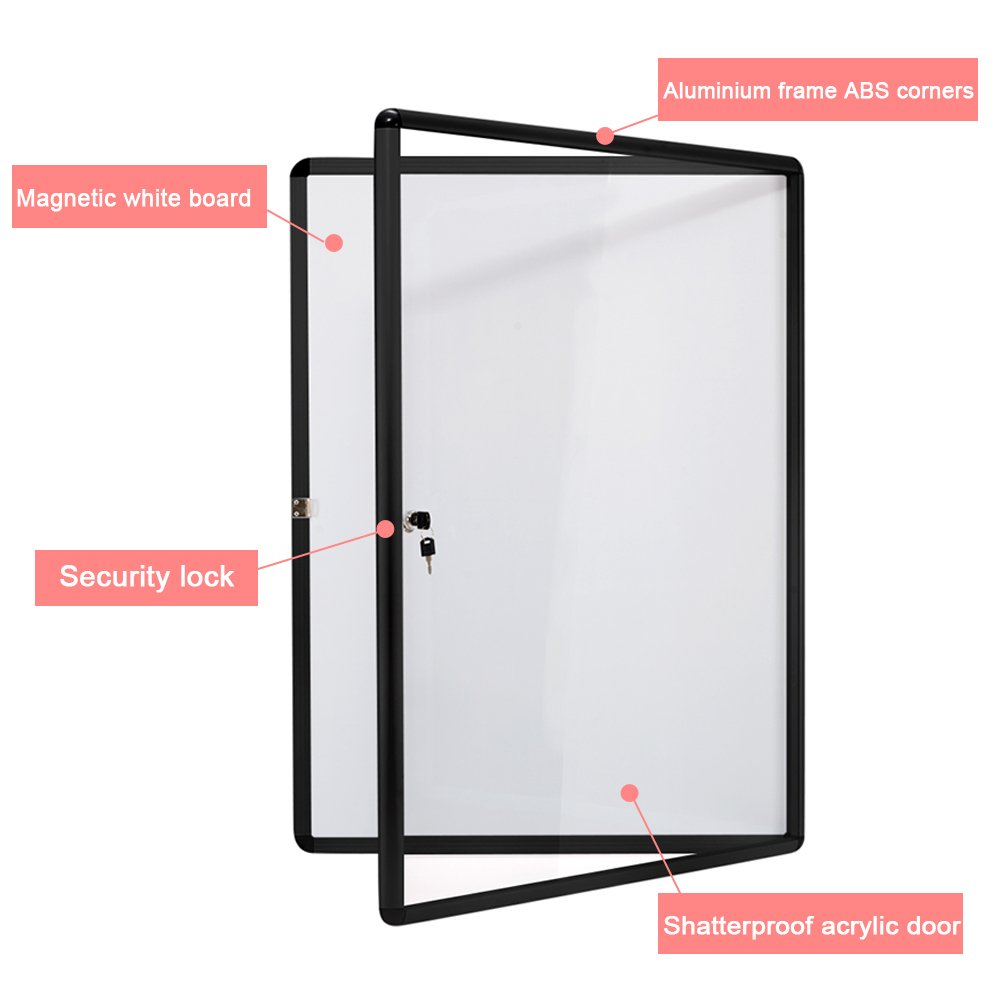 SwanSea Lockable Bulletin Boards Magnetic Whiteboard Notice Cabinet Tamperproof with Aluminum Frame 28x26inch (9xA4) by S SWANCROWN (Image #1)