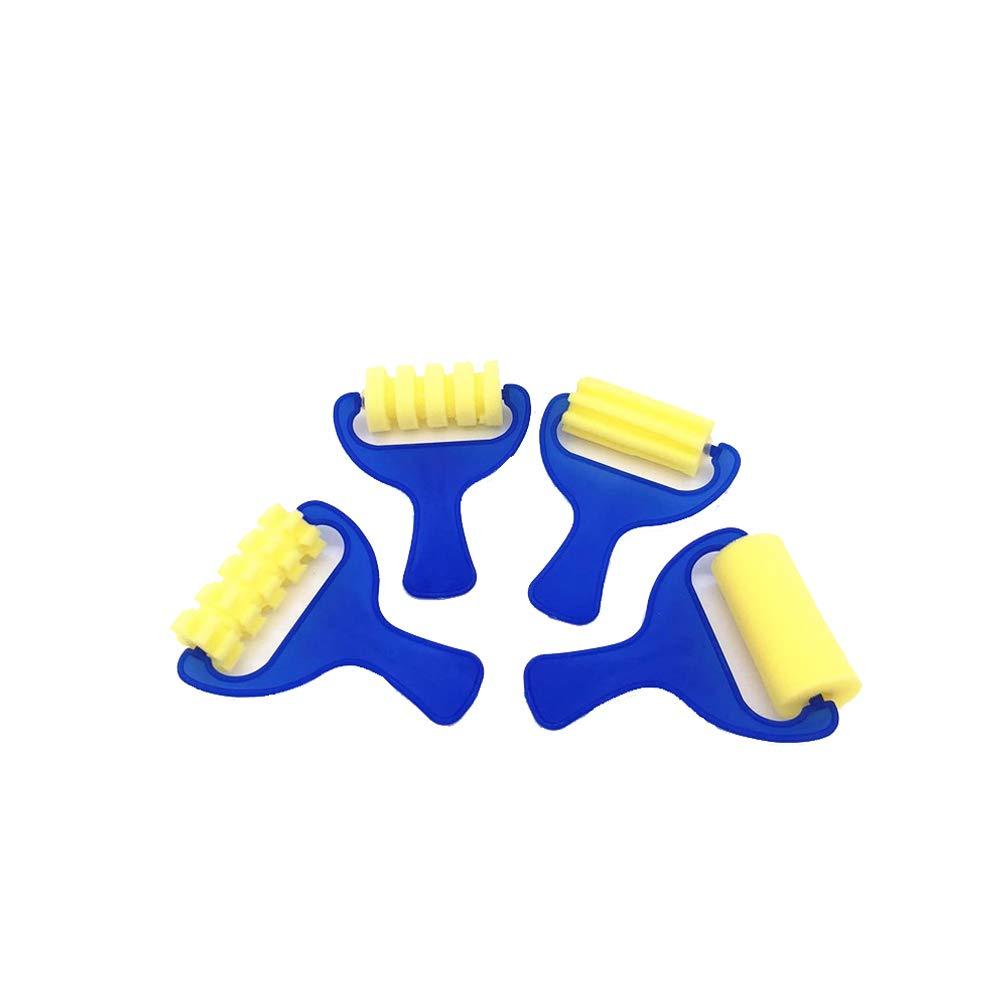 Ogquaton 4 PZ Sponge Painters Roller Brushes Childrens Brush Foam Brushes for Kids Artigianato artistico