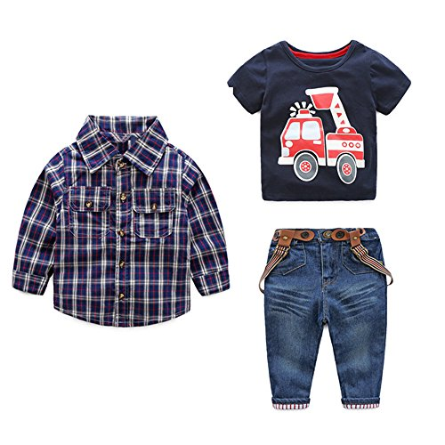 Tem Doger 3Pcs Toddler Boys Button Down Plaid Shirt Coat+Car Printed T-Shirt+Suspender Jeans Set (Blue, 120/5T)