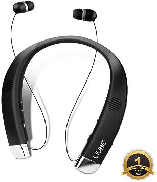 LIUHE Altavoz Bluetooth 2 en 1, banda para el cuello, auriculares inalámbricos portátiles, altavoz portátil, sonido estéreo de verdad, auriculares a prueba de sudor con micrófono incorporado retráctil, Negro: Amazon.es: Deportes y