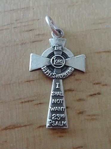 Sterling Silver 22x12mm 23rd Psalms Written on a Cross Charm ()