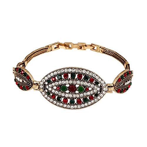 [Darkey Wang Woman Fashion Personality Retro Folk Style Full Diamond Resin Bracelet] (Irish Folk Dance Costumes)