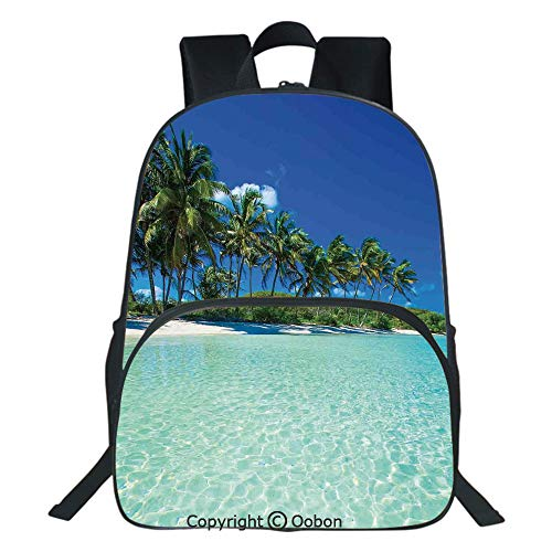 Oobon Kids Toddler School Waterproof 3D Cartoon Backpack, Image of a Sunny Day in a Tropical Island with Palm Trees and Ocean Heaven Calm Lands, Fits 14 Inch Laptop