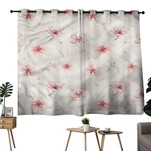 (Background Darkening Curtains Grommets Curtain Panels Dusty Rose,Cherry Blossoms Ornate Room/Bedroom W72 x L45)