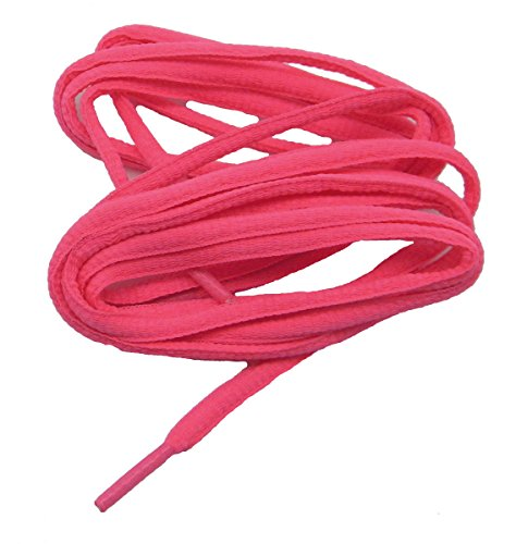 12 Pair Pack OVAL proATHLETIC(tm) Neon Pink 6mm Shoelaces Bulk pack TEAMLACES(tm) Support Cancer Awareness! (45 Inch 114 cm) by GREATLACES