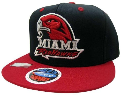 NCAA Miami of Ohio Redhawks Mascot Style Snapback Hat, Black/Red ()