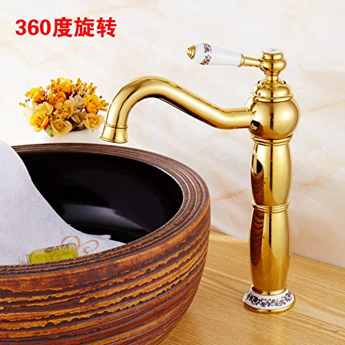 H redOOY Faucet Taps golden Faucet Hot And Cold Faucet Copper Bathroom Height bluee And White Porcelain Counter Basin gold-Plated Antique Faucet, Silver