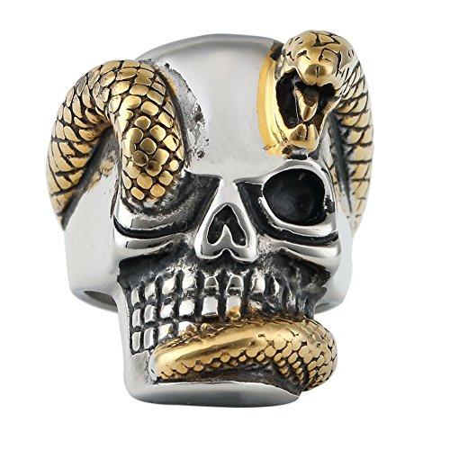 Snake Skull Head Stainless Steel Punk Rock Mens Naga Ring Casting Solid Ring - Naga Heads