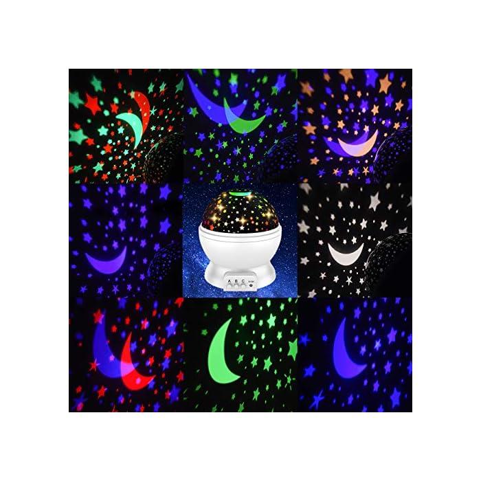51ZbikMUhHL 【Romántico y hermoso】 Este proyector para bebés puede ayudarlo a llevar el universo a su hogar. Te muestra el cielo estrellado en la pared o el techo de la habitación. Hay muchos modelos al respecto. Además, es rico en color. Rodeado de estrellas, crea un ambiente cálido y romántico. 【Diseñado para niños】 Con material ABS, sin olores desagradables, sin ruido, fuerte resistencia al impacto. Los chips LED regulables IC de alta calidad se pueden utilizar durante más de un año. Ahorran energía, tienen una vida útil prolongada y generan luz saludable y sin radiación. 【Luces de ensueño】 Hay diferentes modos de iluminación. Modo A: modo de luz nocturna cálida. Modo B: alternancia de luces de colores (blanco cálido / azul / verde / rojo). Modo C: las luces de estrella se pueden girar 360 °. Simplemente cambie entre modos para disfrutar del hermoso cielo estrellado y brindarle una experiencia fantástica.