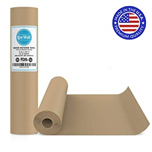 "Brown Kraft Paper Jumbo Roll - 18"" x 1200"" (100ft) - Food Grade FDA Approved – Great Smoking Wrapping Paper for Meat of All Varieties– Made in USA– Unwaxed and Uncoated (Brown - 18""x100')"
