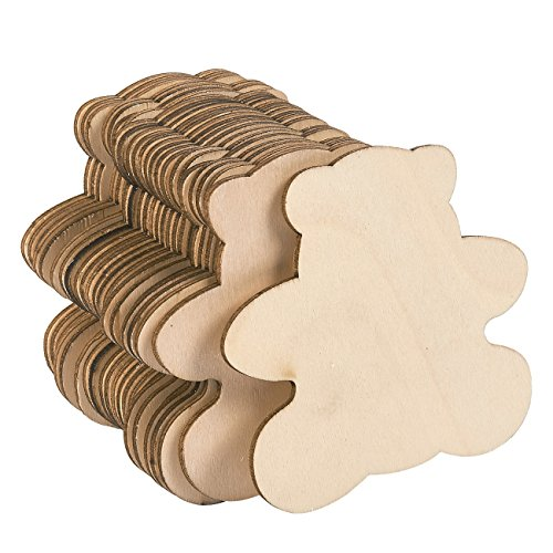 Unfinished Wood Cutout - 24-Pack Bear Shaped Wood Pieces for Wooden Craft DIY Projects, Gift Tags, Home Decoration, 3.7 x 3.5 x 0.1 inches