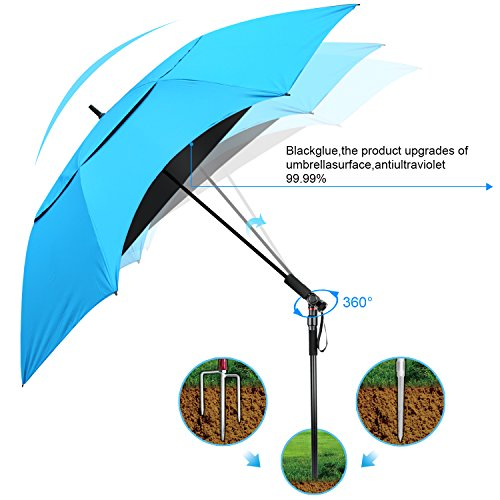 Cheap Sun Shade Umbrella ,Portable Beach Umbrellas, Heat Insulation, UV Protection,Windproof And Waterproof,Lightweight,big,Large, For Outdoor ,Travel ,Patio, Fishing, Camping, Garden,Picnic (blue)
