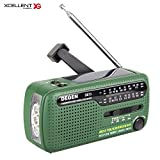 Xcellent Global Solar Emergency Hand Crank Self Powered AM / FM Radio with LED Flashlight, Power Bank for Cellphone Tablet USB Charging Devices AV035