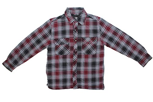BC Clothing Men's Plaid Shirt Jacket With Quilted Lining … (Wine Red Plaid, - Flannel Shirt Quilted Work