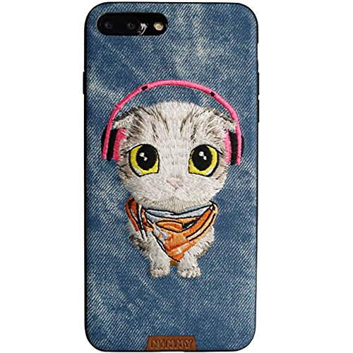 MayAi iPhone 7 Case Cute Cat Embroidered, iPhone 8 Case Silicone, Leather Resistant Back Cover, Soft Touch Slim Fit Flexible TPU Case for iPhone -