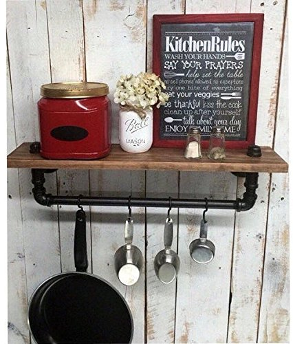 Industrial Kitchen Shelf, Rustic Kitchen Shelves, Black Iron Pipe, Wall  Hanging, Industrial