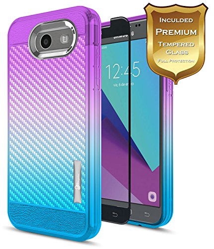 Galaxy J7 Prime Case, J7 Sky Pro / J7 V (Verizon) / J7 Perx/Halo w/[Tempered Glass Screen Protector], NageBee [Carbon Fiber] Ultra Slim [Frost Clear] Cover Case for Samsung Galaxy J7 2017 -Purple