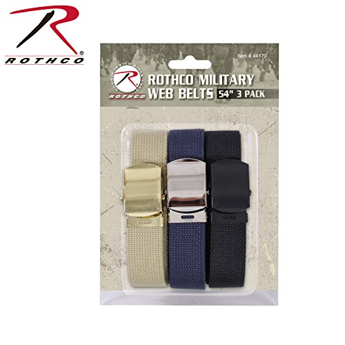 Rothco Military Web Belts (3 Pack), 54''
