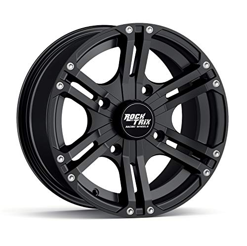 Works with IRS Honda Kawasaki Yamaha Foreman Rubicon Rincon Brute Force Kodiak Grizzly Rhino 4//110-1pc Single 5+2 Offset 12x7 RockTrix RT104 4pc 12in ATV Wheel 4x110 Rim