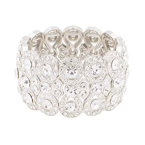 "(Lavencious Infinity Shape Rhinestone Stretch Bracelet Evening Party Jewelry 7"" (Silver))"