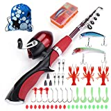 Multi Outools Kids Fishing Pole,Rod and Reel Combos for Fishing Starters Children Fishing Enthusiasts,A Full Fishing Kit for Birthday,Christmas,Festival Gift (Red Kids Fishing Pole)