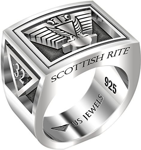 Masonic Scottish Rite Jewel - Men's Heavy 0.925 Sterling Silver Freemason Scottish Rite Ring Band, Size 12