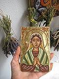 St Bernadette Soubirous of Lourdes hand painted byzantine icon catholic gift
