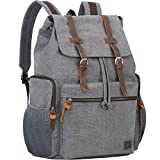 Wowbox 17.3 Inch Laptop Canvas Backpack Unisex Vintage Leather Casual Rucksack School College Bags Satchel Bookbag Large Capacity Hiking Travel Rucksack Business Daypack for Men and Women(Grey)