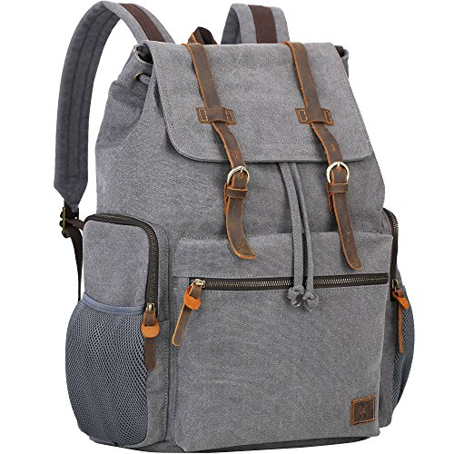 (Wowbox 17.3 Inch Laptop Canvas Backpack Unisex Vintage Leather Casual Rucksack School College Bags Satchel Bookbag Large Capacity Hiking Travel Rucksack Business Daypack for Men and Women(Grey))