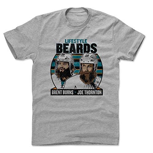 500 LEVEL Brent Burns Cotton Shirt (Large, Heather Gray) - San Jose Sharks Men's Apparel - Brent Burns Lifestyle Beards K